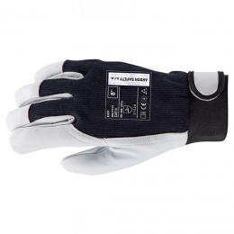 Manusi Easy piele oaie Velcro gri negru marimea 10